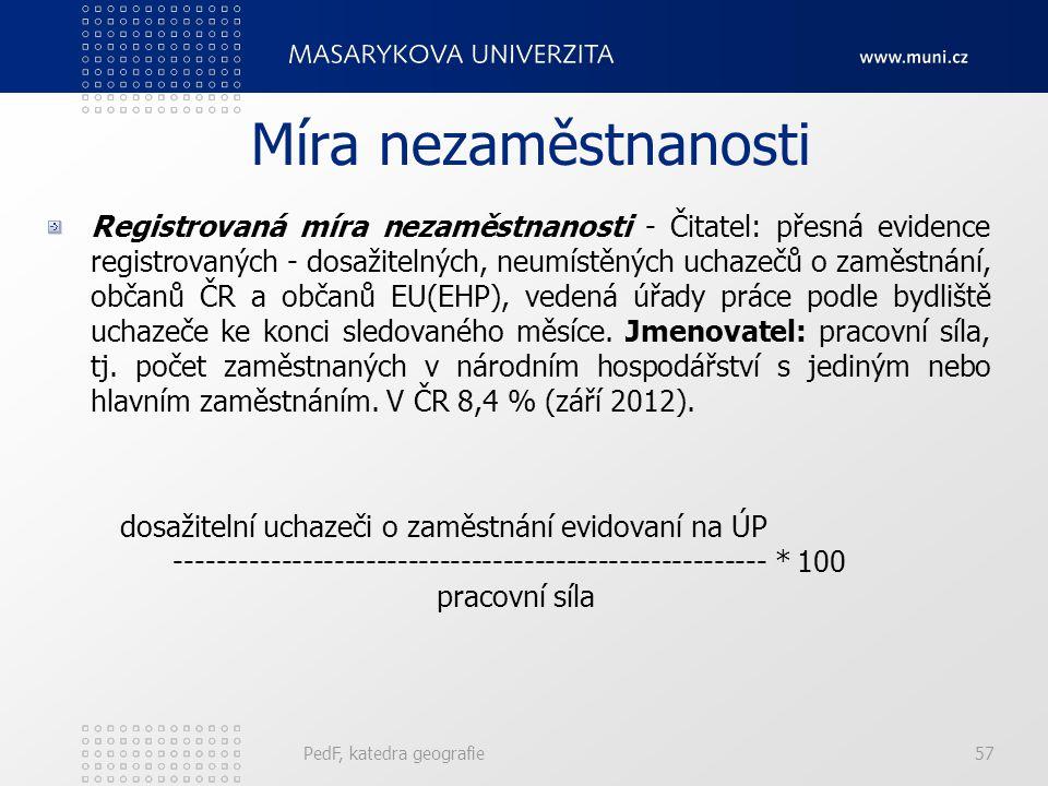 PedF, katedra geografie57 Míra nezaměstnanosti Registrovaná míra nezaměstnanosti - Čitatel: přesná evidence registrovaných - dosažitelných, neumístěný
