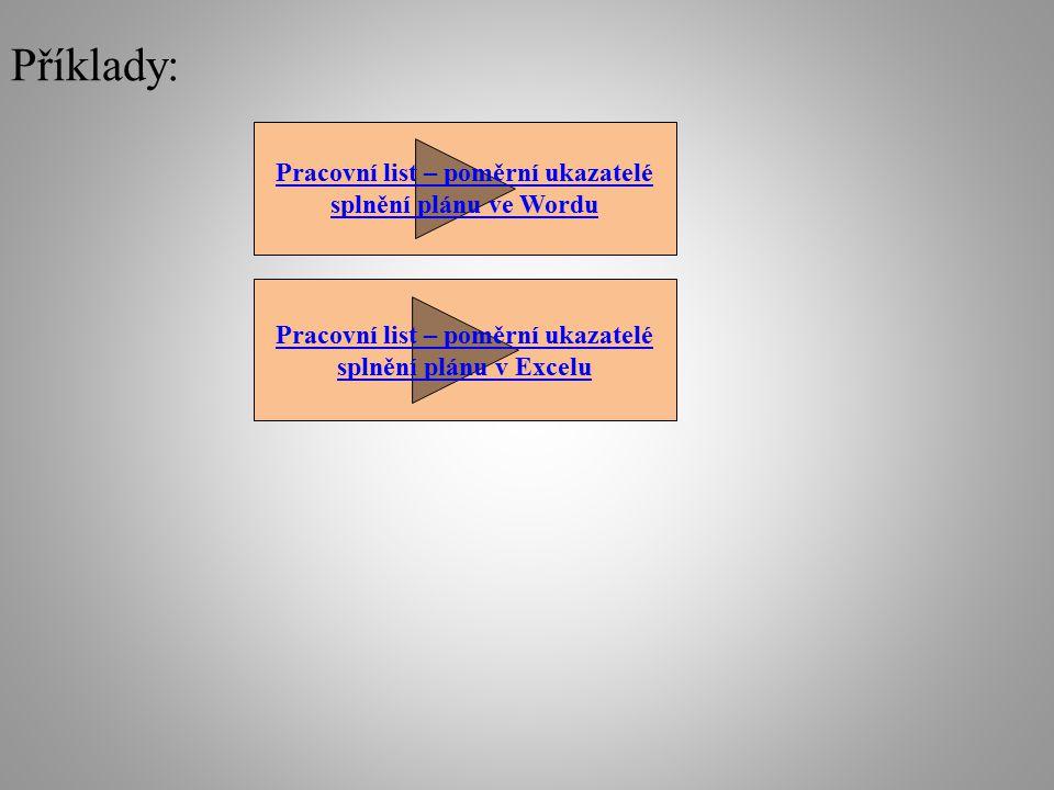 Příklady: Pracovní list – poměrní ukazatelé splnění plánu ve Wordu Pracovní list – poměrní ukazatelé splnění plánu v Excelu