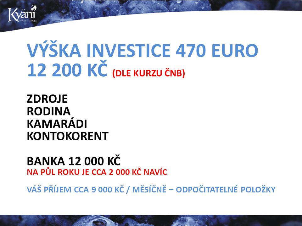 VÝŠKA INVESTICE 470 EURO 12 200 KČ (DLE KURZU ČNB) ZDROJE RODINA KAMARÁDI KONTOKORENT BANKA 12 000 KČ NA PŮL ROKU JE CCA 2 000 KČ NAVÍC VÁŠ PŘÍJEM CCA 9 000 KČ / MĚSÍČNĚ – ODPOČITATELNÉ POLOŽKY