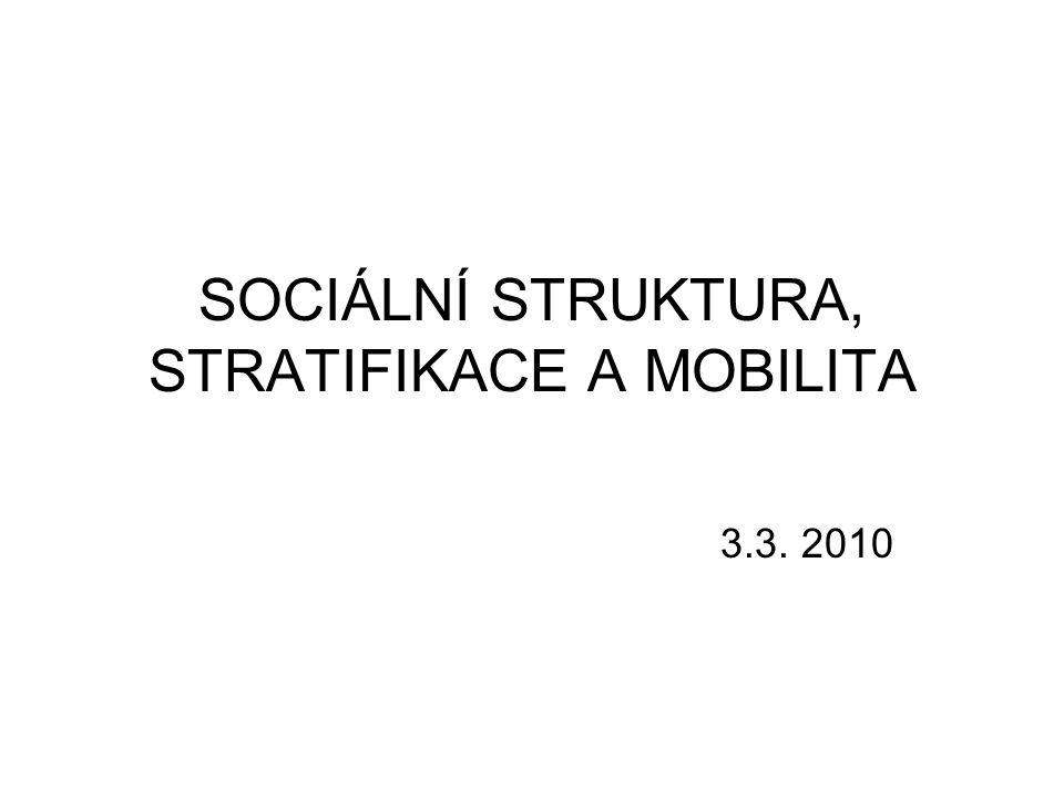 Sociální struktura Uspořádání relativně stálých sociálních prvků sociálního systému, které charakterizují povahu celého systému, příp.