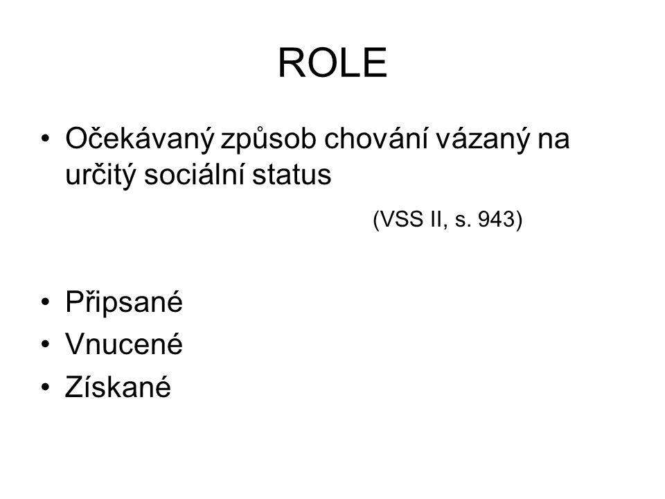 ROLE Očekávaný způsob chování vázaný na určitý sociální status (VSS II, s. 943) Připsané Vnucené Získané