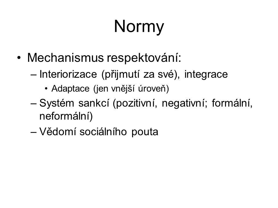 Normy Mechanismus respektování: –Interiorizace (přijmutí za své), integrace Adaptace (jen vnější úroveň) –Systém sankcí (pozitivní, negativní; formáln