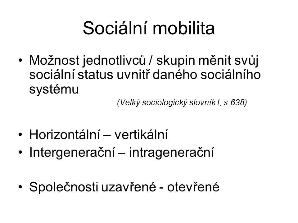 Sociální mobilita Možnost jednotlivců / skupin měnit svůj sociální status uvnitř daného sociálního systému (Velký sociologický slovník I, s.638) Horiz