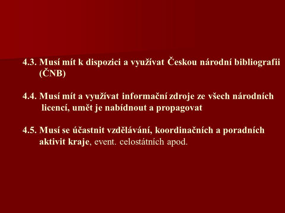 4.3. Musí mít k dispozici a využívat Českou národní bibliografii (ČNB) 4.4.