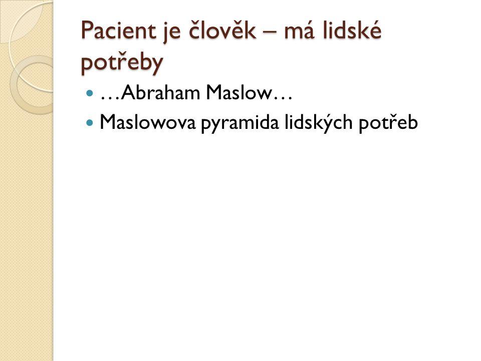 Pacient je člověk – má lidské potřeby …Abraham Maslow… Maslowova pyramida lidských potřeb