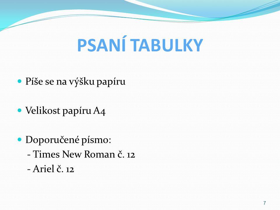 PSANÍ TABULKY Píše se na výšku papíru Velikost papíru A4 Doporučené písmo: - Times New Roman č.