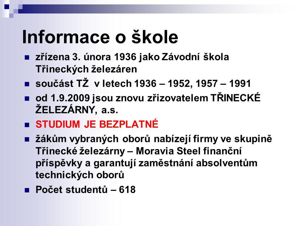 Nabídka studijních oborů pro školní rok 2012/2013 4-leté studijní obory ukončené maturitní zkouškou Elektrotechnika 26-41-M/01 (Automatizační technika) Ekonomika a podnikání 63-41-M/01 (Management obchodu a služeb) Hutník – operátor 21-43-L/01 Mechanik elektrotechnik 26-41-L/01 Elektrotechnika 26-41-M/01 Ekonomika a podnikání 63-41-M/01 Hutník – operátor 21-43-L/01 Mechanik elektrotechnik 26-41-L/01 Mechanik strojů a zařízení 23-44-L/0 2-leté denní nástavbové studium Podnikání 64-41-L/51 Podnikání 64-41-L/51