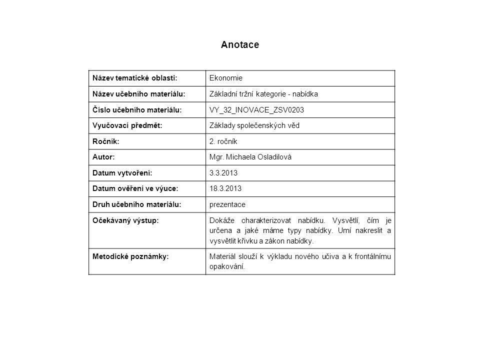 Anotace Název tematické oblasti: Ekonomie Název učebního materiálu: Základní tržní kategorie - nabídka Číslo učebního materiálu: VY_32_INOVACE_ZSV0203