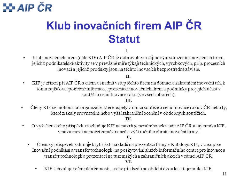 11 Klub inovačních firem AIP ČR Statut I.