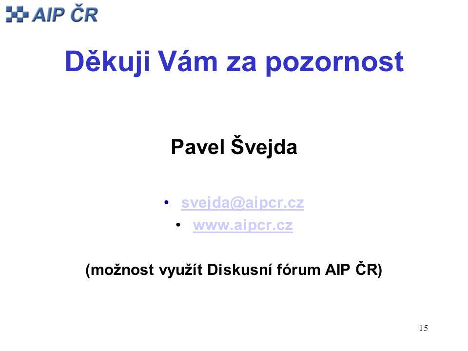 15 Děkuji Vám za pozornost Pavel Švejda svejda@aipcr.cz www.aipcr.cz (možnost využít Diskusní fórum AIP ČR)