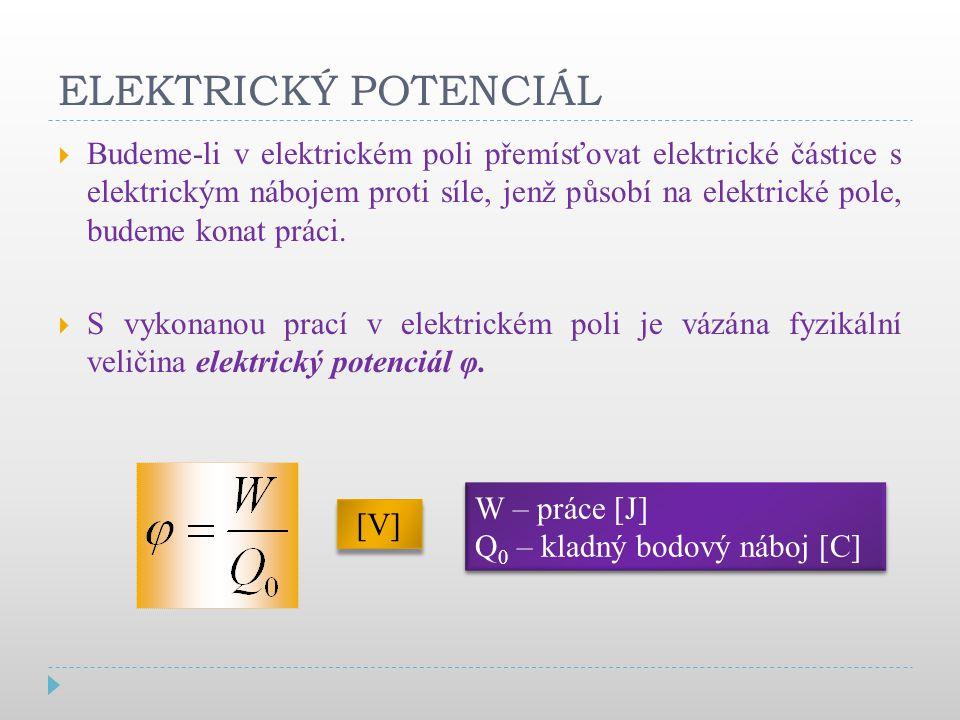 ELEKTRICKÝ POTENCIÁL  Budeme-li v elektrickém poli přemísťovat elektrické částice s elektrickým nábojem proti síle, jenž působí na elektrické pole, budeme konat práci.