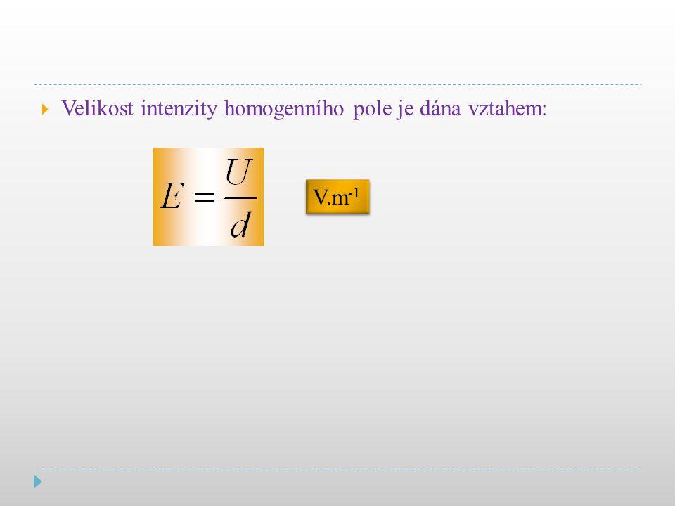  Velikost intenzity homogenního pole je dána vztahem: V.m -1