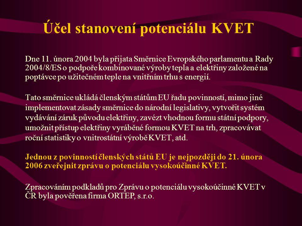 Zpracováním podkladů pro Zprávu o potenciálu vysokoúčinné KVET v ČR byla pověřena firma ORTEP, s.r.o. Jednou z povinností členských států EU je nejpoz