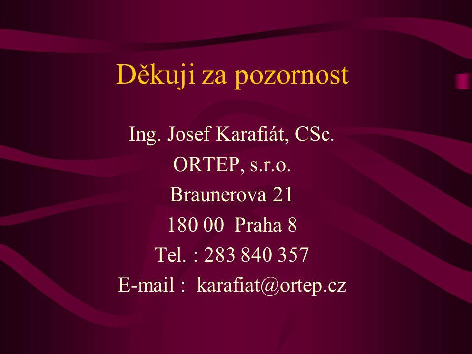 Děkuji za pozornost Ing. Josef Karafiát, CSc. ORTEP, s.r.o. Braunerova 21 180 00 Praha 8 Tel. : 283 840 357 E-mail : karafiat@ortep.cz