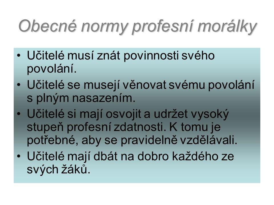 Profesní morální normy jsou minimální normy, jejichž respektování lze očekávat od každého učitele.