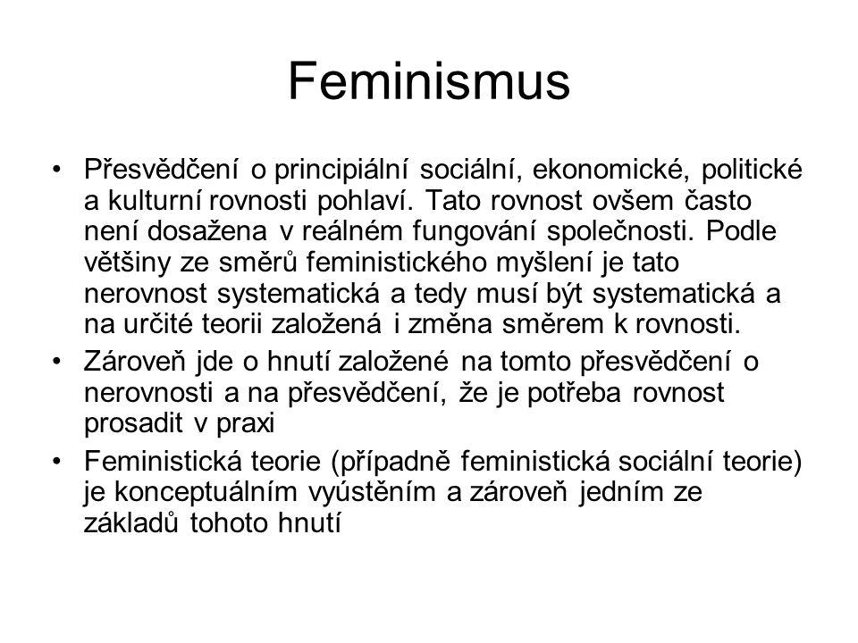 Feminismus Přesvědčení o principiální sociální, ekonomické, politické a kulturní rovnosti pohlaví. Tato rovnost ovšem často není dosažena v reálném fu