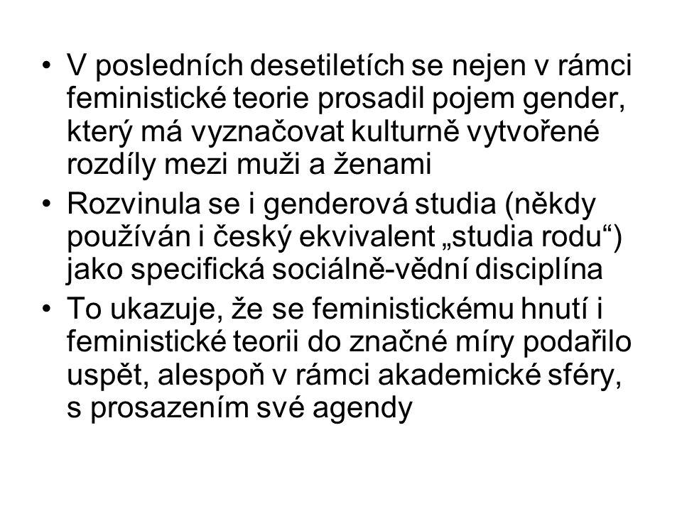 V posledních desetiletích se nejen v rámci feministické teorie prosadil pojem gender, který má vyznačovat kulturně vytvořené rozdíly mezi muži a ženam