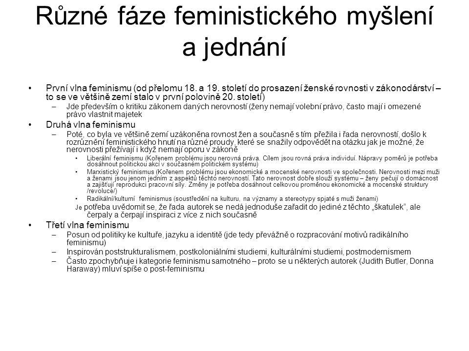Různé fáze feministického myšlení a jednání První vlna feminismu (od přelomu 18. a 19. století do prosazení ženské rovnosti v zákonodárství – to se ve