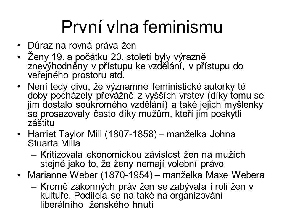 První vlna feminismu Důraz na rovná práva žen Ženy 19. a počátku 20. století byly výrazně znevýhodněny v přístupu ke vzdělání, v přístupu do veřejného