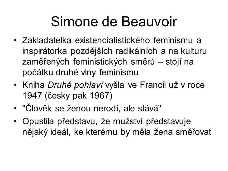 Simone de Beauvoir Zakladatelka existencialistického feminismu a inspirátorka pozdějších radikálních a na kulturu zaměřených feministických směrů – st