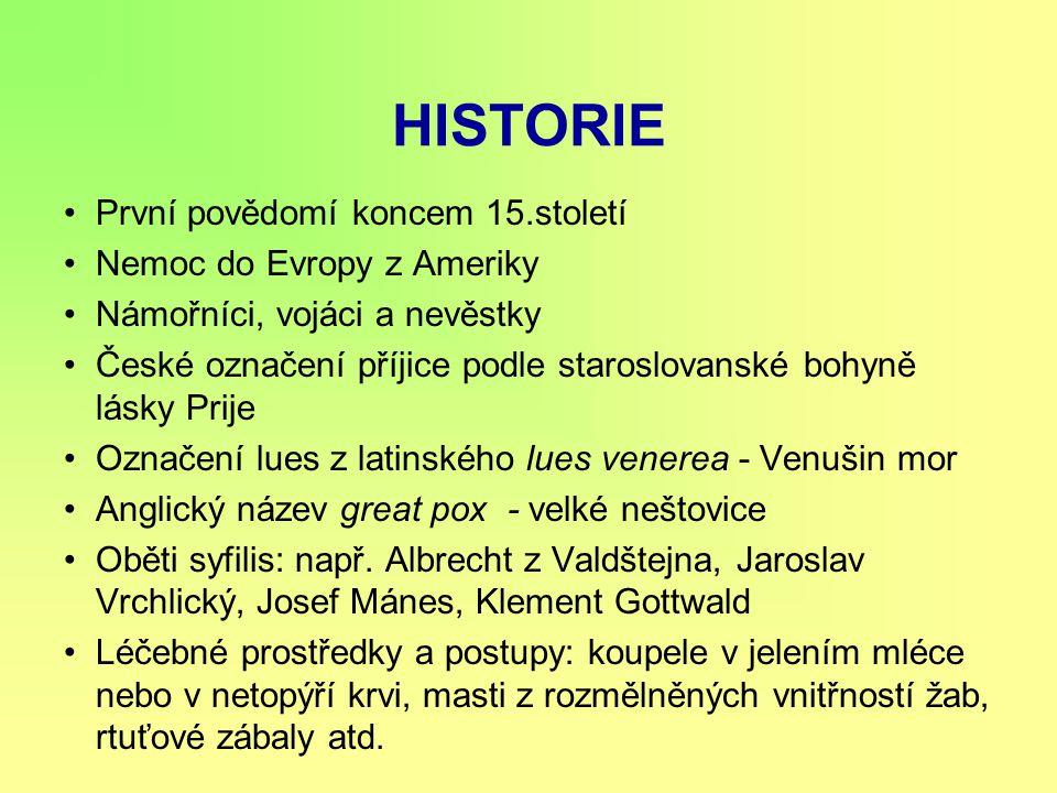 HISTORIE První povědomí koncem 15.století Nemoc do Evropy z Ameriky Námořníci, vojáci a nevěstky České označení příjice podle staroslovanské bohyně lá