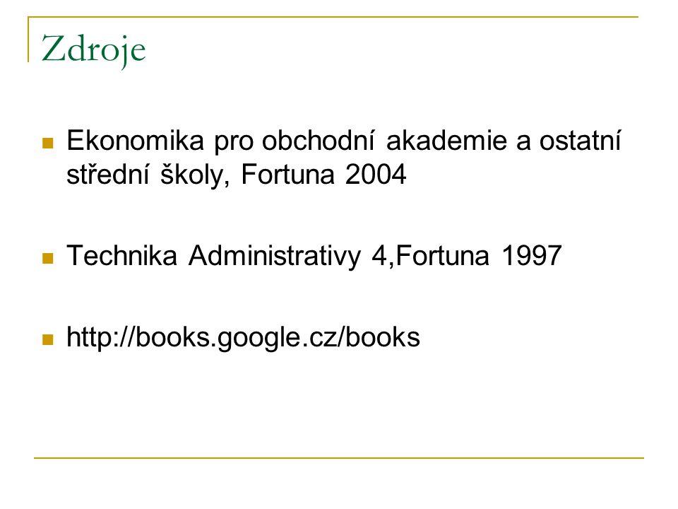 Zdroje Ekonomika pro obchodní akademie a ostatní střední školy, Fortuna 2004 Technika Administrativy 4,Fortuna 1997 http://books.google.cz/books