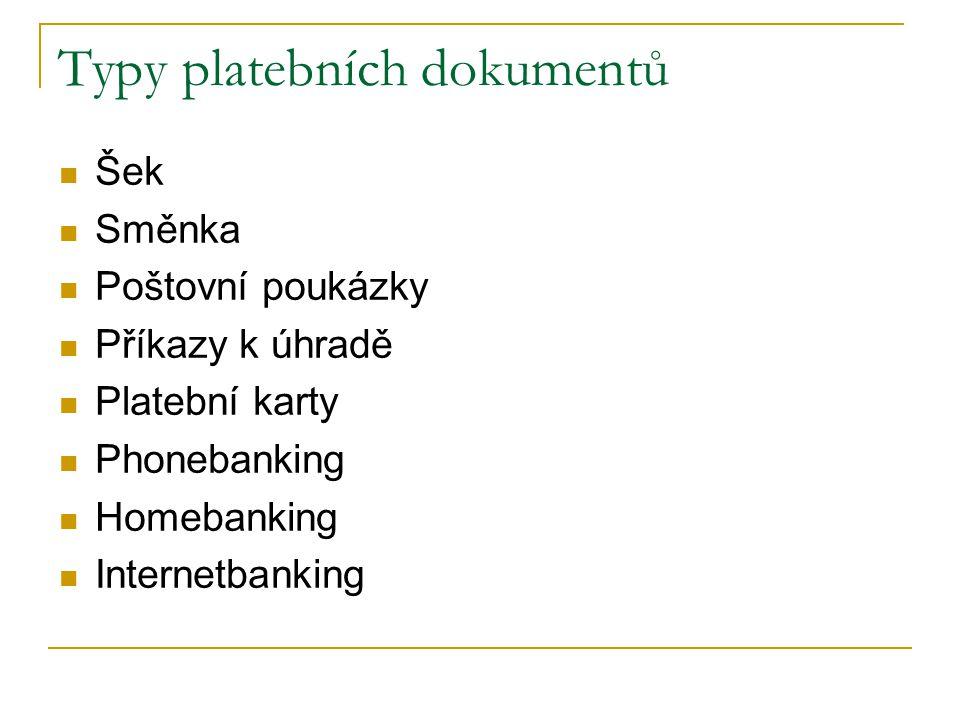 Typy platebních dokumentů Šek Směnka Poštovní poukázky Příkazy k úhradě Platební karty Phonebanking Homebanking Internetbanking