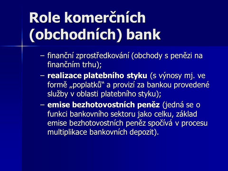 """Role komerčních (obchodních) bank –finanční zprostředkování (obchody s penězi na finančním trhu); –realizace platebního styku (s výnosy mj. ve formě """""""