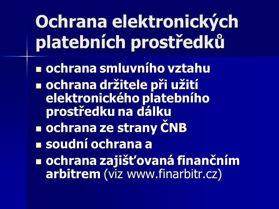Ochrana elektronických platebních prostředků ochrana smluvního vztahu ochrana smluvního vztahu ochrana držitele při užití elektronického platebního pr