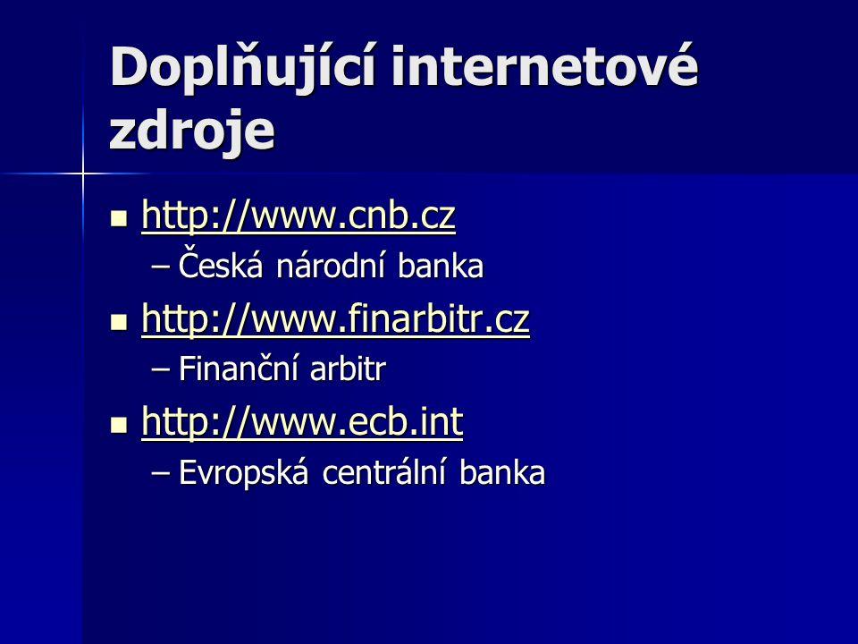 Doplňující internetové zdroje http://www.cnb.cz http://www.cnb.cz http://www.cnb.cz –Česká národní banka http://www.finarbitr.cz http://www.finarbitr.