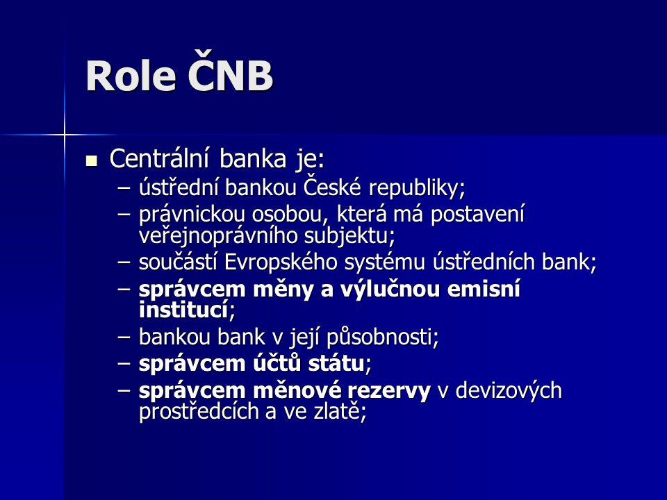 Role ČNB - pokračování –provozovatelem systémů pro mezibankovní platební styk; –subjektem plnícím funkci registru bank, zastoupení zahraničních bank a finančních institucí vykonávajících bankovní činnosti na území České republiky; –koordinátorem rozvoje bankovního informačního systému a –subjektem, kterému jsou zákonem svěřeny kompetence správního úřadu (obdobně jako ústřední správní úřady je ČNB oprávněna vydávat sekundární normativní právní akty a metodické pokyny heteronomní povahy).