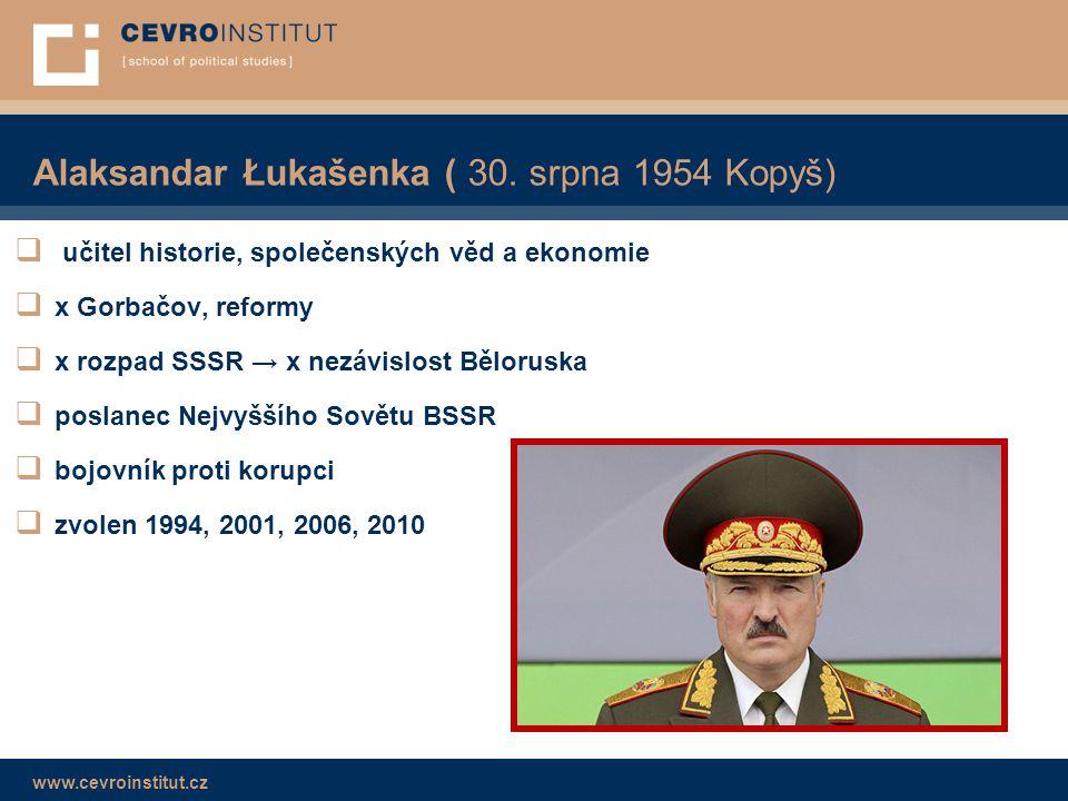 www.cevroinstitut.cz Alaksandar Łukašenka ( 30. srpna 1954 Kopyš)  učitel historie, společenských věd a ekonomie  x Gorbačov, reformy  x rozpad SSS