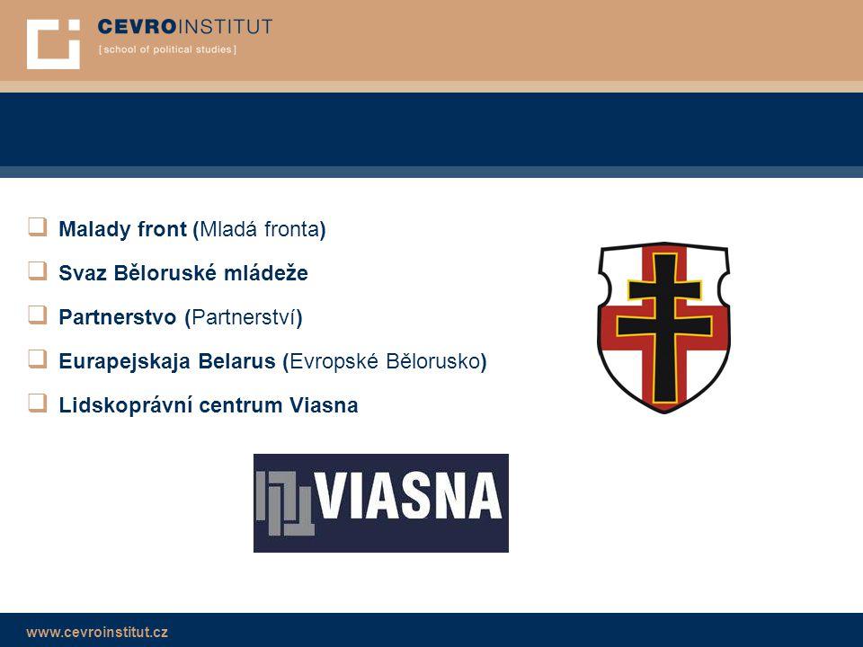 www.cevroinstitut.cz  Malady front (Mladá fronta)  Svaz Běloruské mládeže  Partnerstvo (Partnerství)  Eurapejskaja Belarus (Evropské Bělorusko) 