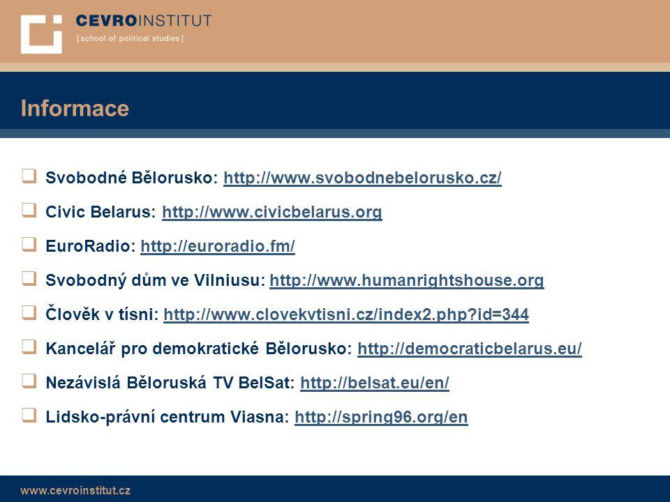 www.cevroinstitut.cz Informace  Svobodné Bělorusko: http://www.svobodnebelorusko.cz/http://www.svobodnebelorusko.cz/  Civic Belarus: http://www.civi