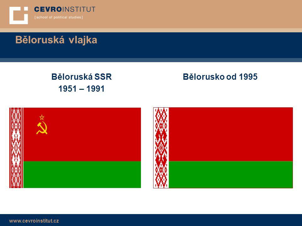 www.cevroinstitut.cz Běloruská vlajka  Běloruská lidová republika 1918 – 1919  Bělorusko 1991 – 1995  Zákaz po rozhodnutí v referendu → symbol odporu