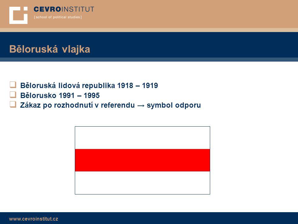 www.cevroinstitut.cz Běloruská vlajka  Běloruská lidová republika 1918 – 1919  Bělorusko 1991 – 1995  Zákaz po rozhodnutí v referendu → symbol odpo