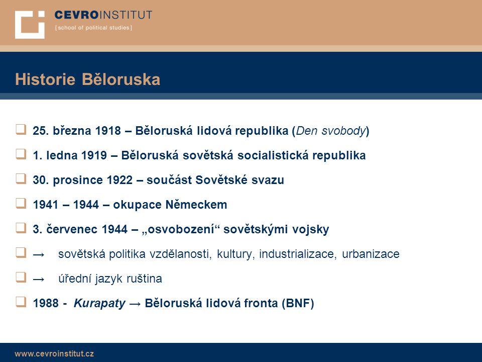 www.cevroinstitut.cz Historie Běloruska  25. března 1918 – Běloruská lidová republika (Den svobody)  1. ledna 1919 – Běloruská sovětská socialistick