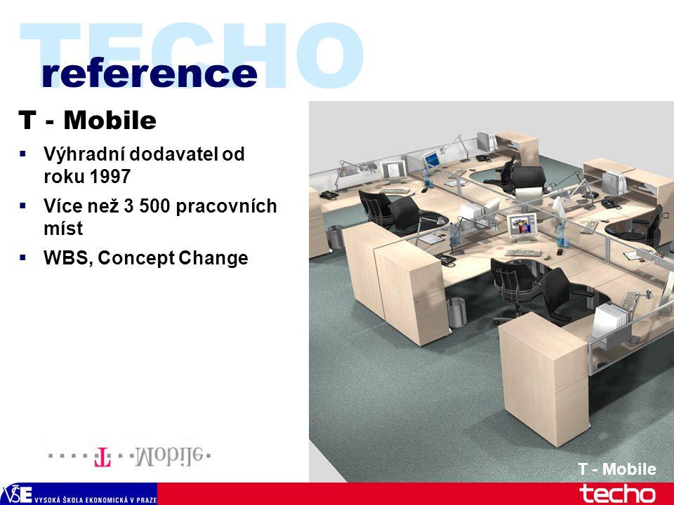 TECHO T - Mobile  Výhradní dodavatel od roku 1997  Více než 3 500 pracovních míst  WBS, Concept Change reference T - Mobile