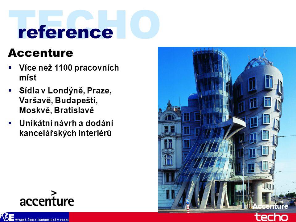 TECHO Accenture  Více než 1100 pracovních míst  Sídla v Londýně, Praze, Varšavě, Budapešti, Moskvě, Bratislavě  Unikátní návrh a dodání kancelářských interiérů reference Accenture