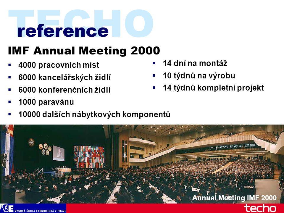 TECHO IMF Annual Meeting 2000  4000 pracovních míst  6000 kancelářských židlí  6000 konferenčních židlí  1000 paravánů  10000 dalších nábytkových komponentů reference Annual Meeting IMF 2000  14 dní na montáž  10 týdnů na výrobu  14 týdnů kompletní projekt