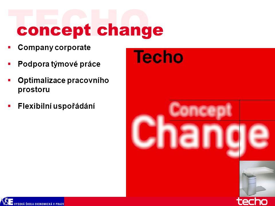 TECHO  Company corporate  Podpora týmové práce  Optimalizace pracovního prostoru  Flexibilní uspořádání concept change