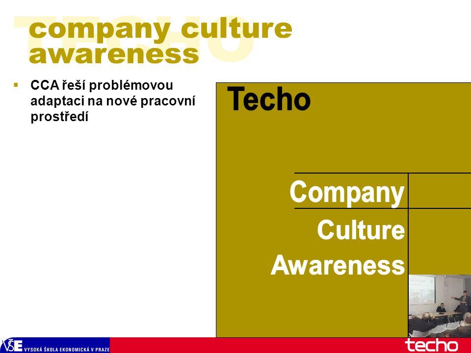  CCA řeší problémovou adaptaci na nové pracovní prostředí TECHO company culture awareness