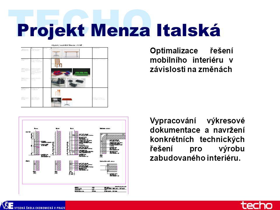 TECHO Projekt Menza Italská Optimalizace řešení mobilního interiéru v závislosti na změnách Vypracování výkresové dokumentace a navržení konkrétních technických řešení pro výrobu zabudovaného interiéru.