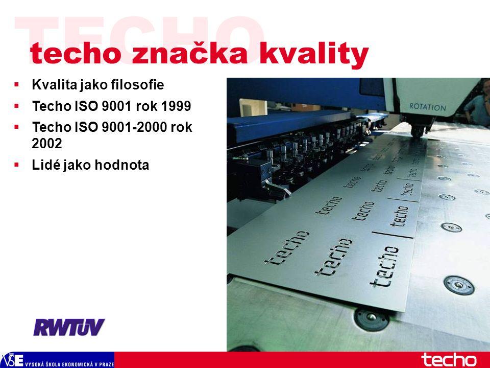 TECHO  Kvalita jako filosofie  Techo ISO 9001 rok 1999  Techo ISO 9001-2000 rok 2002  Lidé jako hodnota techo značka kvality