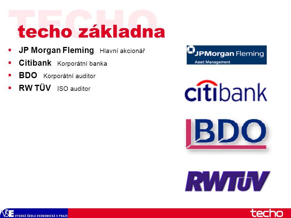 TECHO  JP Morgan Fleming Hlavní akcionář  Citibank Korporátní banka  BDO Korporátní auditor  RW TÜV ISO auditor techo základna