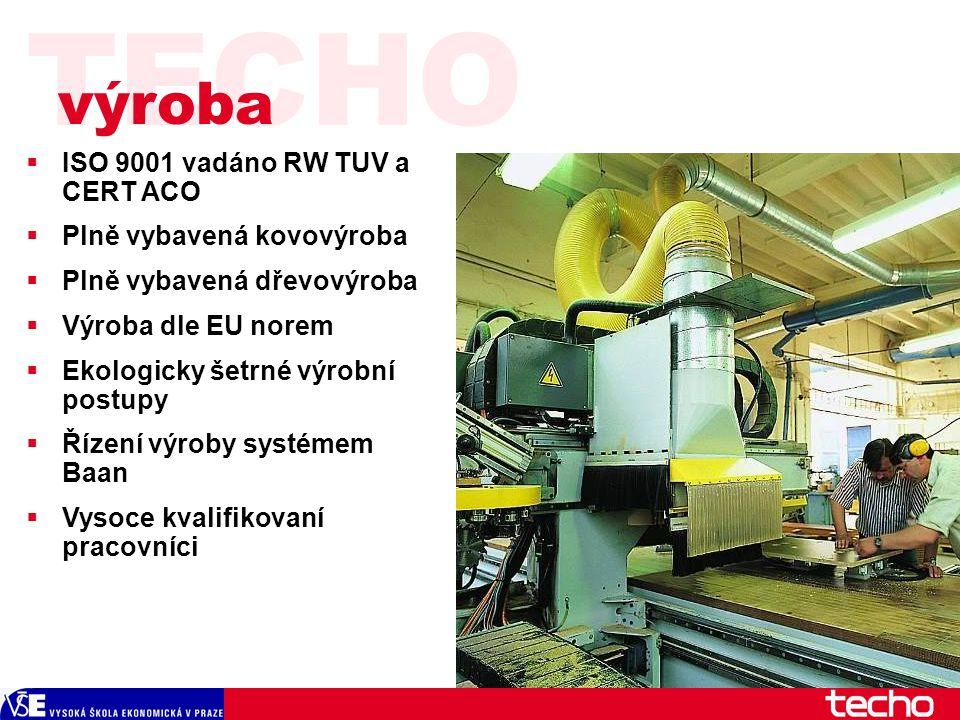 TECHO  ISO 9001 vadáno RW TUV a CERT ACO  Plně vybavená kovovýroba  Plně vybavená dřevovýroba  Výroba dle EU norem  Ekologicky šetrné výrobní postupy  Řízení výroby systémem Baan  Vysoce kvalifikovaní pracovníci výroba