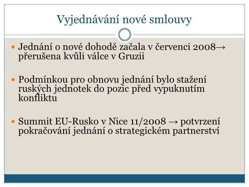 Vyjednávání nové smlouvy Jednání o nové dohodě začala v červenci 2008 → přerušena kvůli válce v Gruzii Podmínkou pro obnovu jednání bylo stažení ruských jednotek do pozic před vypuknutím konfliktu Summit EU-Rusko v Nice 11/2008 → potvrzení pokračování jednání o strategickém partnerství