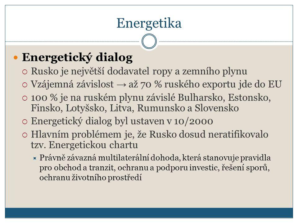 Energetika Energetický dialog  Rusko je největší dodavatel ropy a zemního plynu  Vzájemná závislost → až 70 % ruského exportu jde do EU  100 % je na ruském plynu závislé Bulharsko, Estonsko, Finsko, Lotyšsko, Litva, Rumunsko a Slovensko  Energetický dialog byl ustaven v 10/2000  Hlavním problémem je, že Rusko dosud neratifikovalo tzv.