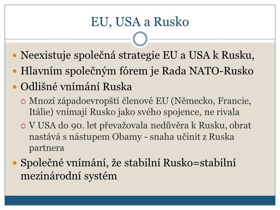 EU, USA a Rusko Neexistuje společná strategie EU a USA k Rusku, Hlavním společným fórem je Rada NATO-Rusko Odlišné vnímání Ruska  Mnozí západoevropští členové EU (Německo, Francie, Itálie) vnímají Rusko jako svého spojence, ne rivala  V USA do 90.