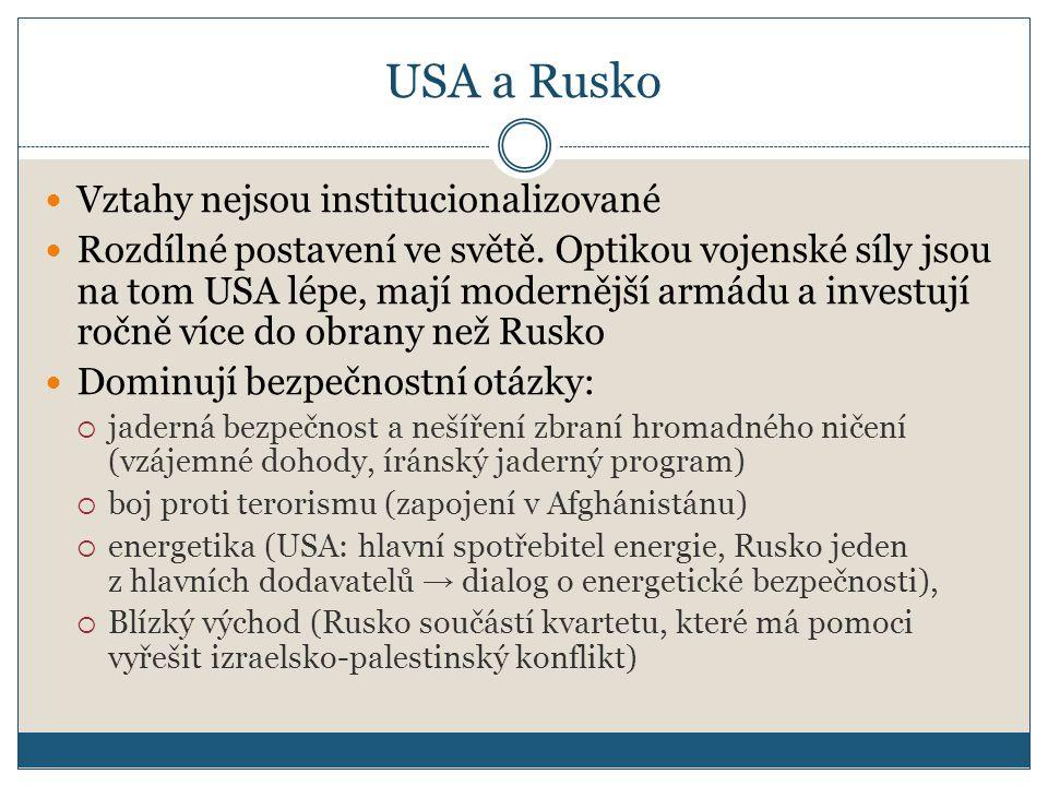 USA a Rusko Vztahy nejsou institucionalizované Rozdílné postavení ve světě.